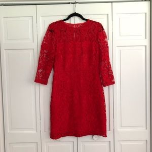 J.crew collection red lace dress size 8 nwt!!